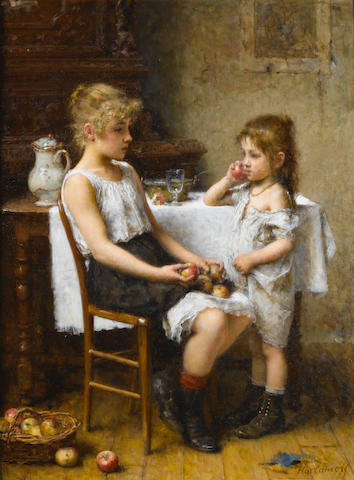 Alexei Alexeevich Harlamoff (Russian, 1840-1925) Choosing Apples