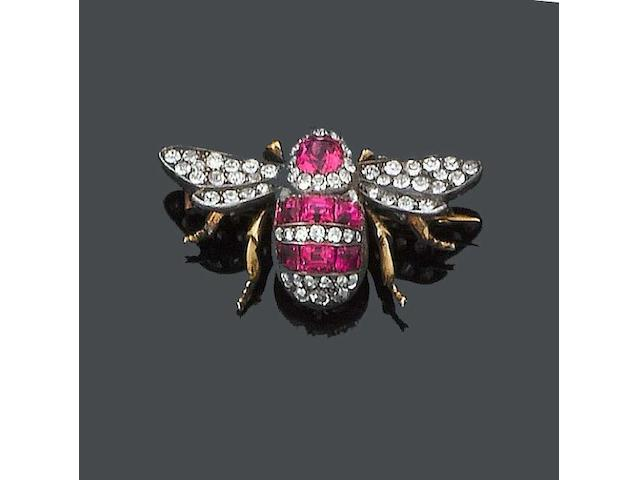 A late 19th century diamond and spinel bee brooch,
