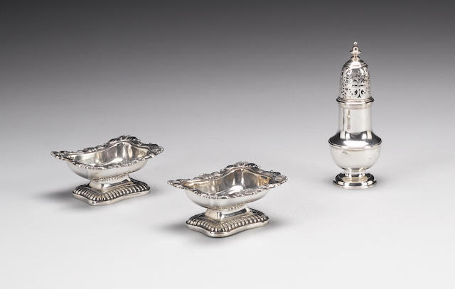 A pair of George III silver salt cellars, by Hennell & Terrey, London 1814, an oval basket, a dish,