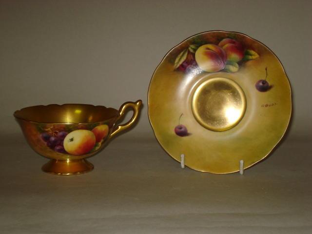 A fifteen piece part tea set painted by Richard Budd