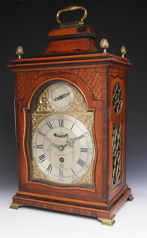 A George III satinwood and rosewood banded repeating bracket clock A Dickieson London