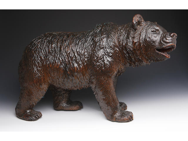 A late 19th century German carved wooden bear