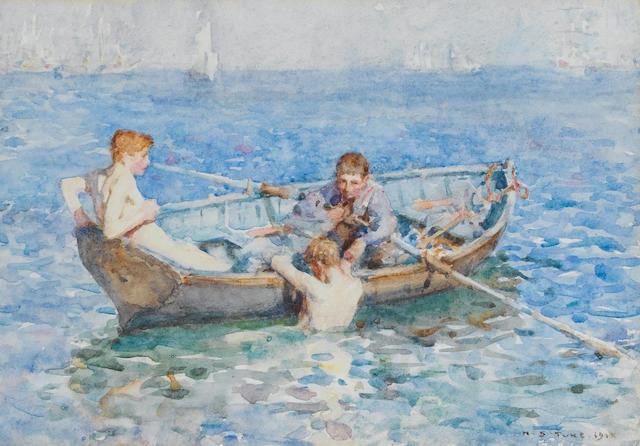 Henry Scott Tuke RA, RWS (British, 1858-1929) Study for 'August Blue'