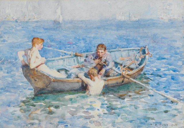 Henry Scott Tuke RA, RWS (British, 1858-1929) Three boys in a boat
