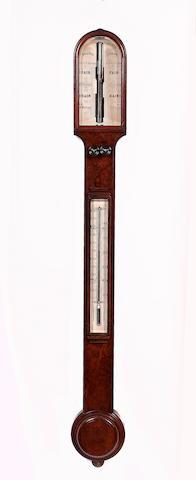A late 19th century burr walnut cased stick barometer Dollard, London