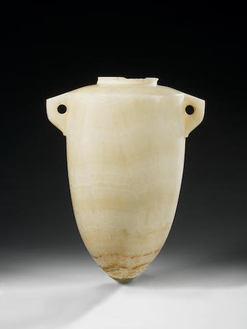 Egyptian torpedo vase in alabaster, III millenium B.C., full provenance