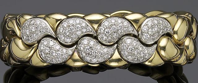A diamond torque bangle