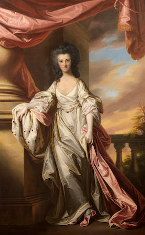 Francis Cotes (London 1726-1770) and Thomas Gainsborough (Sudbury 1727-1788) Portrait of Anne, Marchioness of Donegal, full length wearing a white dress, standing beside a curtain with a view to a landscape beyond