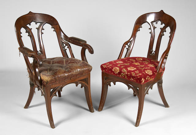 An unusual set of nine early Victorian mahogany dining chairs