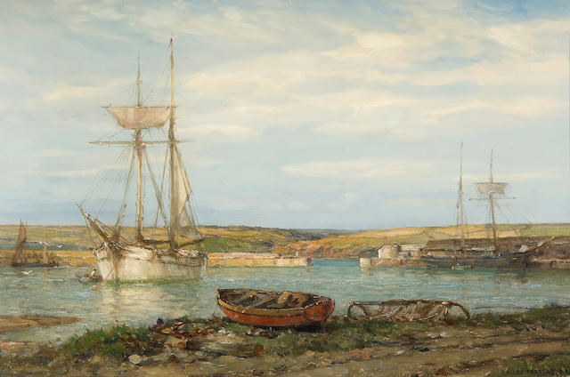 Arthur Wilde Parsons (British, 1854-1931) Cornish harbour scene, thought to be Mylor