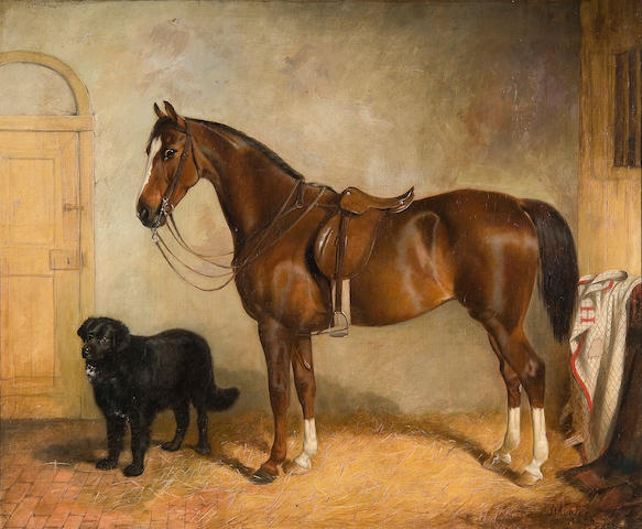 James Wheeler Of Bath (British, 1820-1885) A chestnut hunter and hound in a stable
