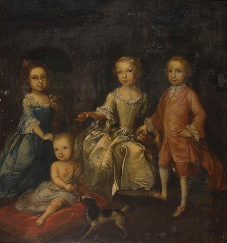 Thomas Hudson (Devonshire 1701-1779 Twickenham) Portrait of Catherine, Francis, Mary and John Enys with a spaniel