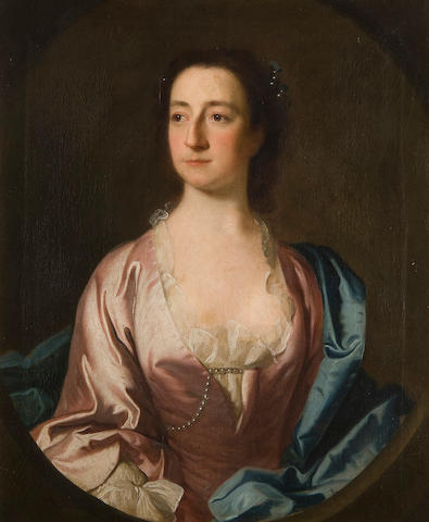 Circle of Allan Ramsay (British, 1852-1912) Portrait of Miss Lucy Bassett (d.1758), half length, wearing blue dress with pearl beads, together with a companion portrait of her sister, Mrs Archer (d.1758), wearing blue shawl over a pink dress with pearl beads a pair,