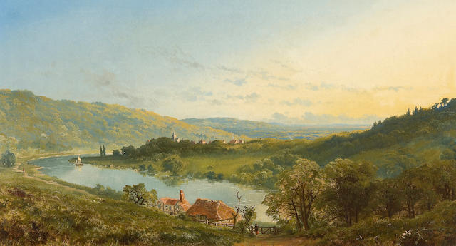 "Edmund John Niemann (British, 1813-1876) ""The River Wye with a village in the distance"""