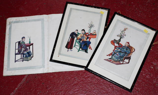 Two framed Chinese pith paper paintings circa 1880 one with a scholar in colourful robes seated on a chair, the other with a man as an attendant, 30 x 20cm