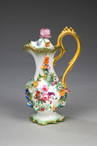 A mid 19th Century Staffordshire rosewater ewer and cover