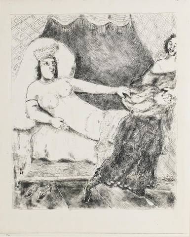 Marc Chagall (Russian/French, 1887-1985) The Bible - plate 21 Etching, 1956, a proof impression of a