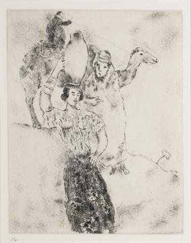 Marc Chagall (Russian/French, 1887-1985) The Bible - plate 12 Etching, 1956, a proof impression of a