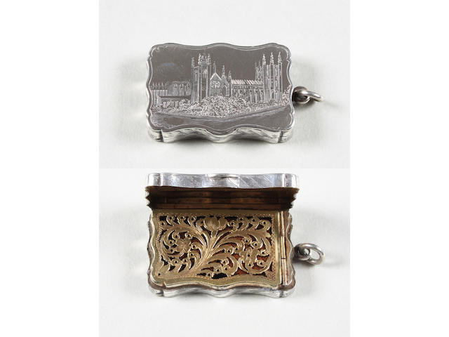 An early Victorian silver pictorial vinaigrette By Taylor and Perry, Birmingham, 1843,
