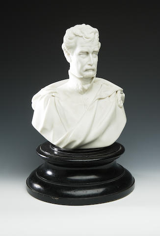 A Parian bust of a continental gentleman,