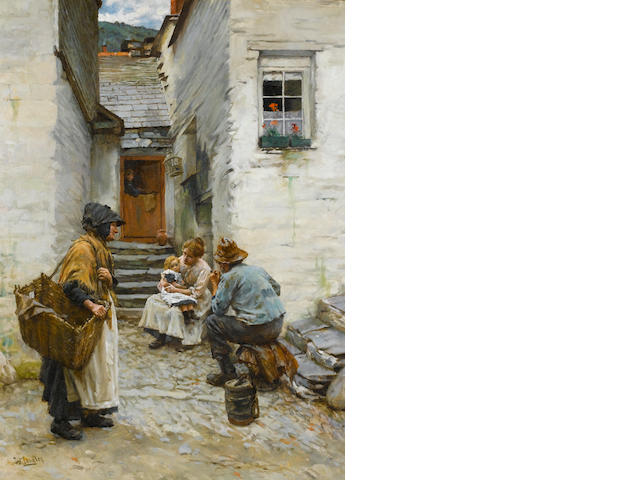 Walter Langley, RI (British, 1852-1922) Cornish fisherfolk