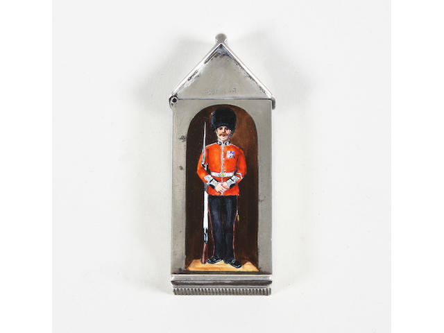 A Victorian silver and enamel sentry box vesta case By Sampson Mordan, London, 1886,