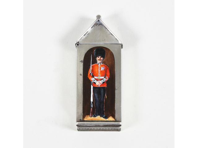 A Victorian silver and enamel sentry box vesta case By Sampson Mordan, London, 1886,
