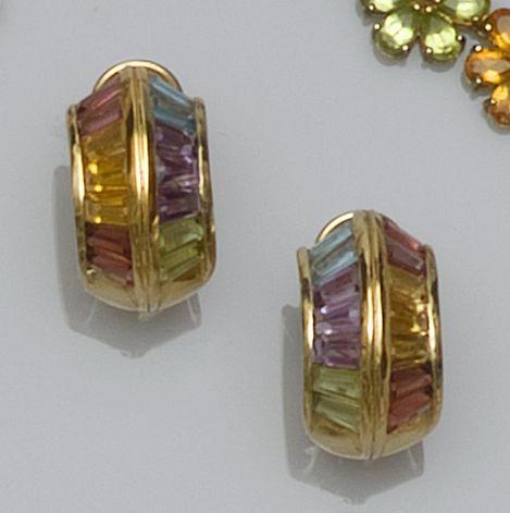 A pair of multi gem set hoop earrings