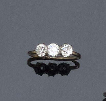 A three stone diamond ring