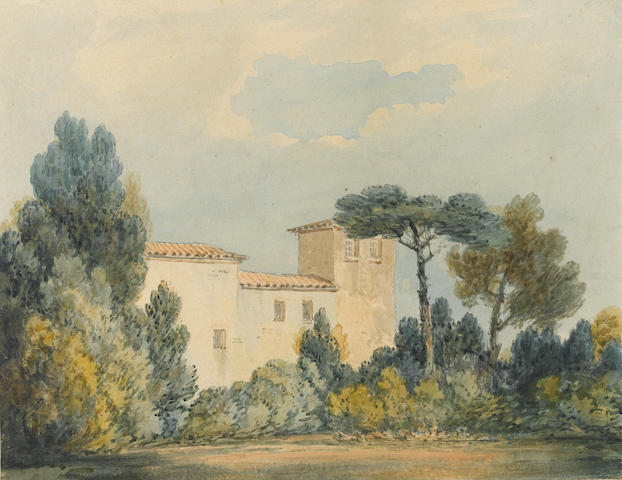 Joseph Mallord William Turner (1775-1851) and Thomas Girtin  (British, 1775-1802) Arno, a villa among trees & bushes