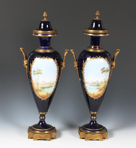A pair of Sèvres style vases and covers Late 19th Century
