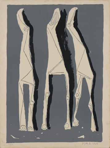 Marino Marini (Italian, 1901-1980) Les Trois Chevaux Lithograph in colours, 1958, on BFK Rives, the