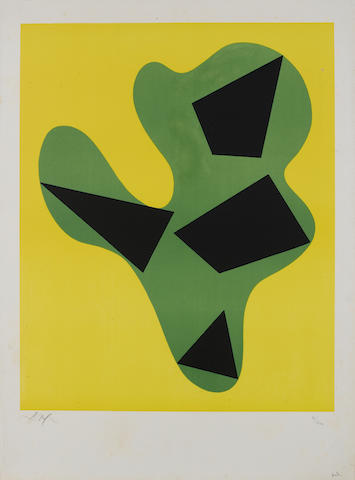 Hans (Jean) Arp (French, 1887-1966) Fouille pour clients interessés Lithograph in colours, 1962/63, on BFK Rives, the full sheet, signed and numbered in pencil, published by L'Oeuvre Gravee, Zurichl 595 x 475mm (23 3/8 x 18 3/4in)(L). With one other similar, signed. 2 unframed