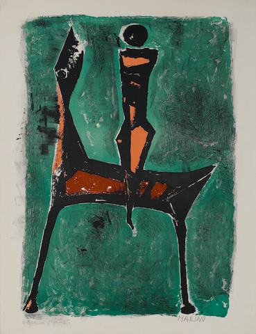 "Marino Marini (Italian, 1901-1980) Cavalier fond Vert Lithograph in colours, 1957, on BFK Rives, the full sheet, signed and inscribed ""epreuvre d'artiste"" in pencil, published by L'Oeuvre Gravee, with their blindstamp; 610 x 430mm 24 x 17in)(L) unframed"