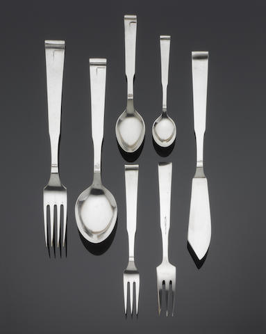"A Continental metalware part table service of flatware, incuse stamped ? ""NC08"", ""100"", or ""NC08"", ""800"",  (Qty)"