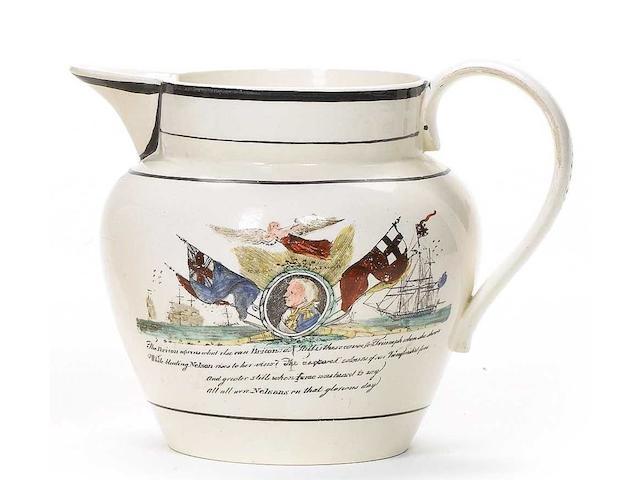A Trafalgar commemorative creamware jug 4.5x6in(11.5x15cm)