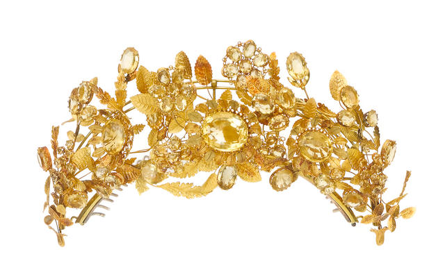 An early 19th century gold and citrine tiara,