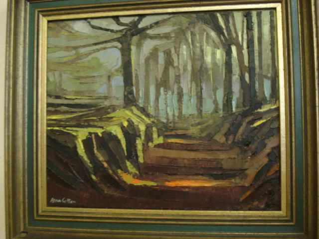 Alan Cotton: study of a woodland path, palette, oil on canvas, signed