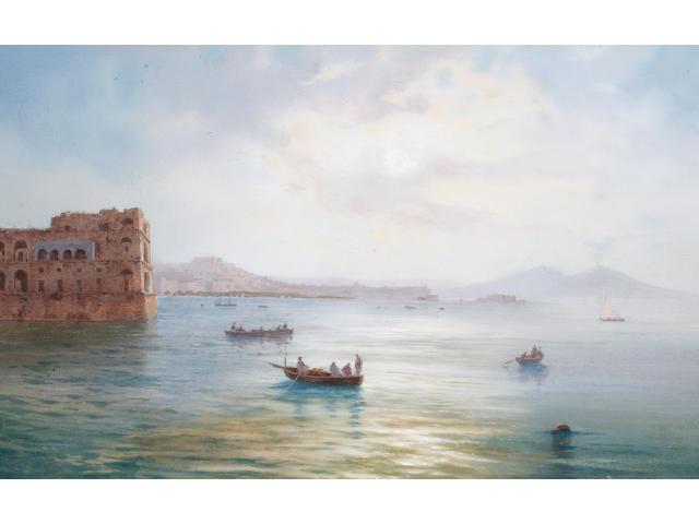 Gioacchino La Pira (Italian, 1839-1870) A view of the Bay of Naples from Palazzo Donn Anna towards Vesuvius
