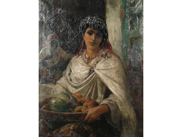 Robert Kemm (British, 1837-1895) 'A Kabyle Fruit Seller, Algiers'