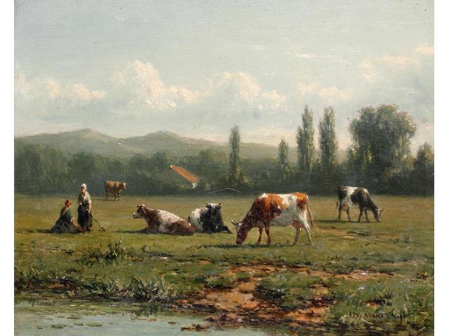 Jacob Jan van der Maaten (Dutch, 1820-1879) Cattle grazing by a stream