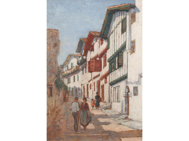 Louis Floutier (French, 1882-1936) A street scene with figures before timber framed houses
