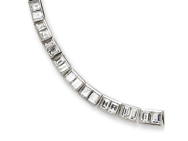 An art deco diamond collar necklace,