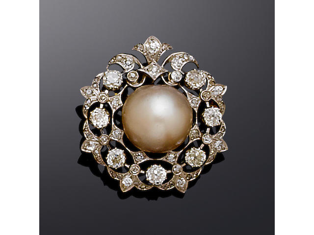 A late 19th century pearl and diamond brooch,