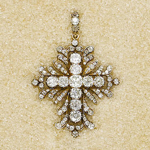 An early 19th century diamond cross pendant,