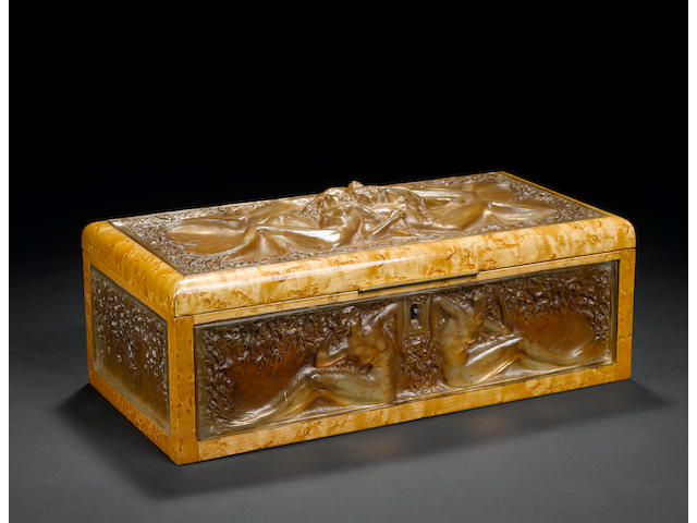 R.Lalique rare glass and wood box with key