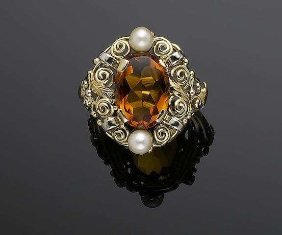 A citrine and cultured pearl ring