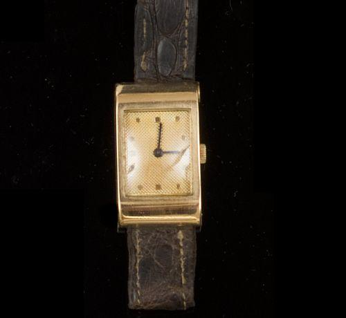 Boucheron/Omega: An 18ct gold rectangular wristwatch 1940's
