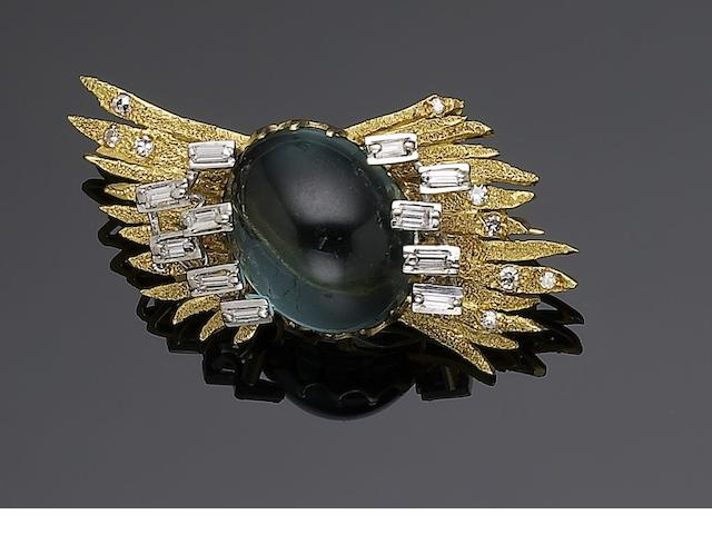 A 1960s tourmaline and diamond brooch