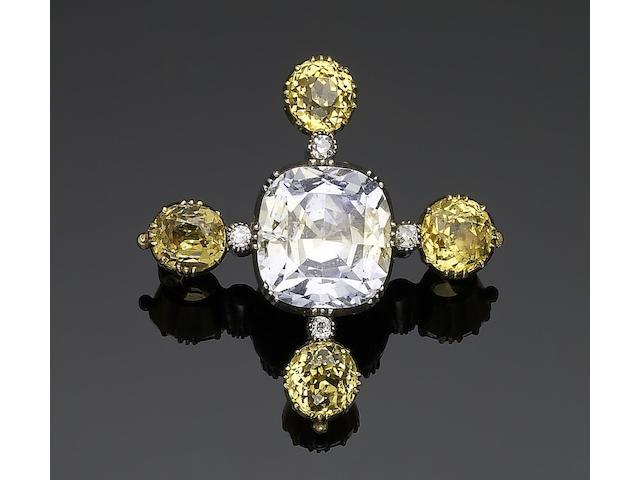 An early 19th century sapphire and diamond cross brooch